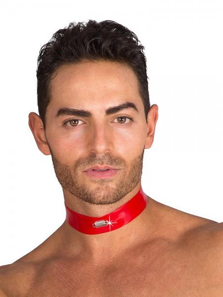 Eros Veneziani Silvio: Lack-Halsband, rot/schwarz