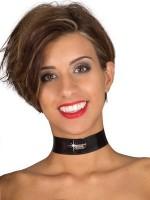 Eros Veneziani Sabina: Lack-Halsband, rot/schwarz